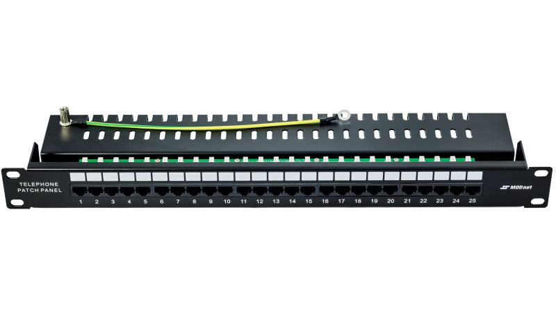 "19"" Telefonní patch panel, ISDN, MODnet, 1U, 25 portů"