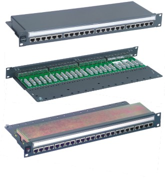 Patch panel PowerCat 1U, 24xRJ45, STP kat.5E, 568B, plně stíněný